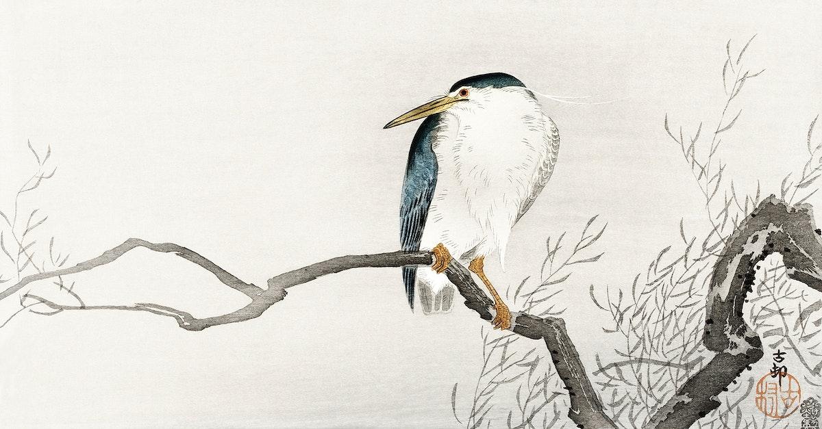 Quack on erratic branch (1900 - 1910) by Ohara Koson (1877-1945). Original from The Rijksmuseum. Digitally enhanced by…