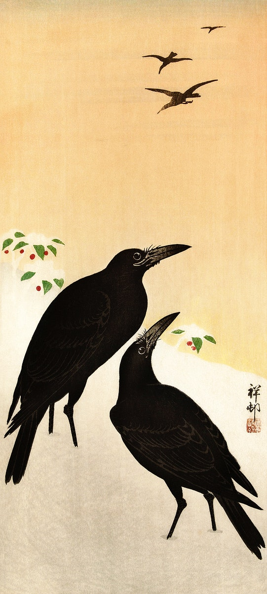 Crows in snow (1900 - 1936) by Ohara Koson (1877-1945). Original from The Rijksmuseum. Digitally enhanced by rawpixel.