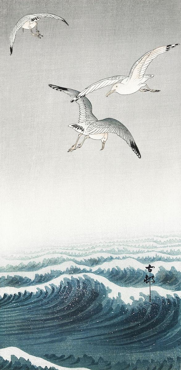 Three seagulls (1900 - 1936) by Ohara Koson (1877-1945). Original from The Rijksmuseum. Digitally enhanced by rawpixel.