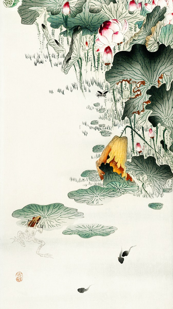 Frog and tadpoles (1900 - 1930) by Ohara Koson (1877-1945). Original from The Rijksmuseum. Digitally enhanced by rawpixel.