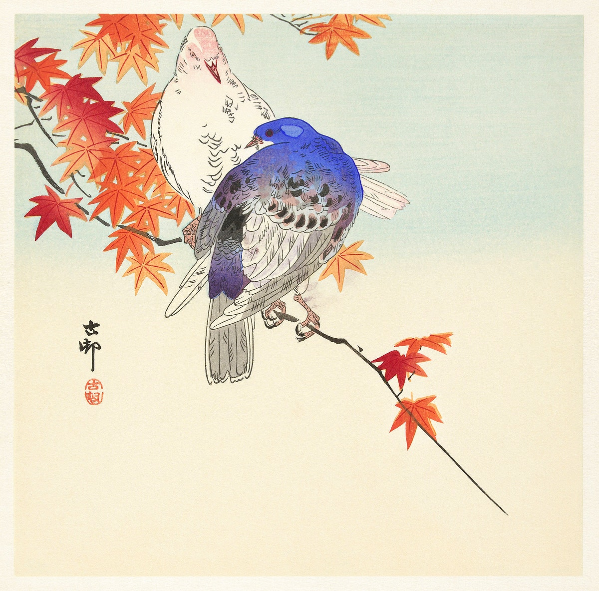 Two pigeons on autumn branch (1900 - 1936) by Ohara Koson (1877-1945). Original from The Rijksmuseum. Digitally enhanced by…
