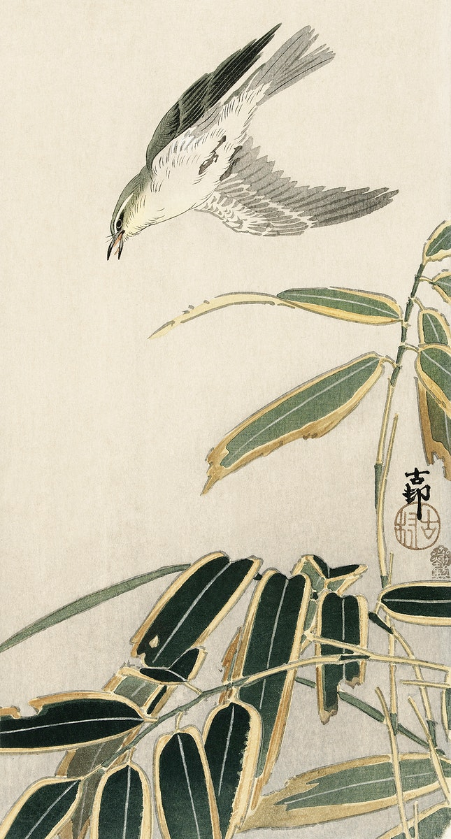 Wheatear in bamboo (1900 - 1910) by Ohara Koson (1877-1945). Original from The Rijksmuseum. Digitally enhanced by rawpixel.