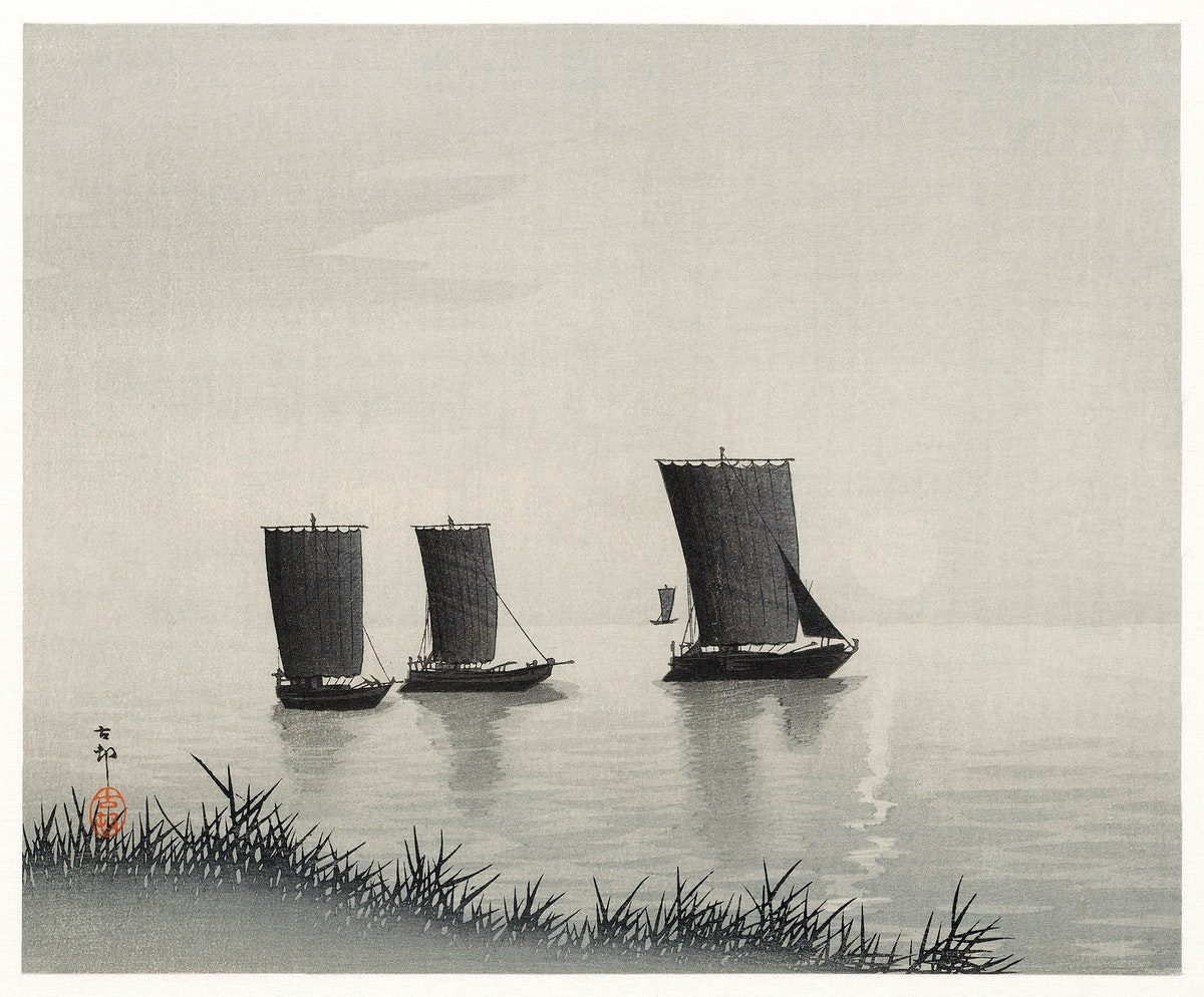 Fishing boats (1900 - 1936) by Ohara Koson (1877-1945). Original from The Rijksmuseum. Digitally enhanced by rawpixel.