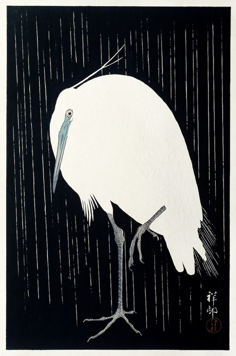Egret in the rain (1925 - 1936) by Ohara Koson (1877-1945). Original from The Rijksmuseum. Digitally enhanced by rawpixel.