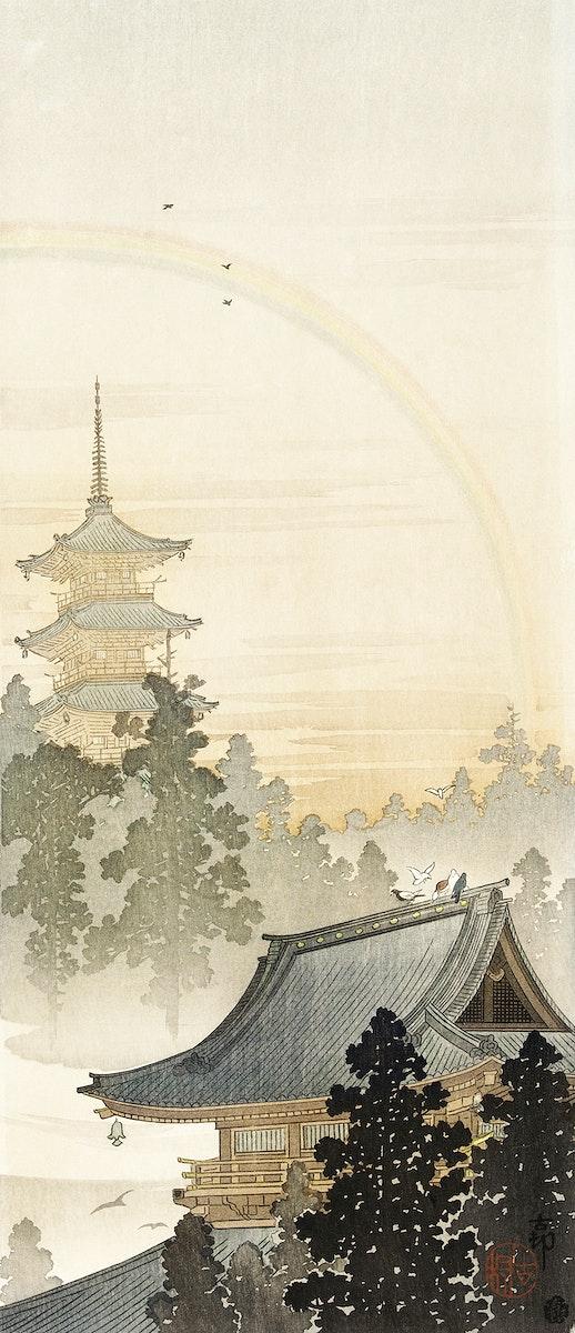 Pagoda and rainbow (1900 - 1910) by Ohara Koson (1877-1945). Original from The Rijksmuseum. Digitally enhanced by rawpixel.