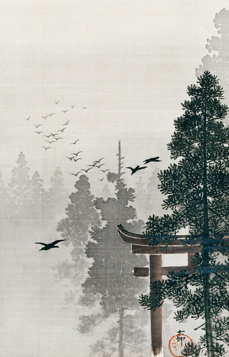 Flock of birds and a torii gate in a pine tree forest (1877-1945) by Ohara Koson (1877-1945). Original from The Rijksmuseum.…