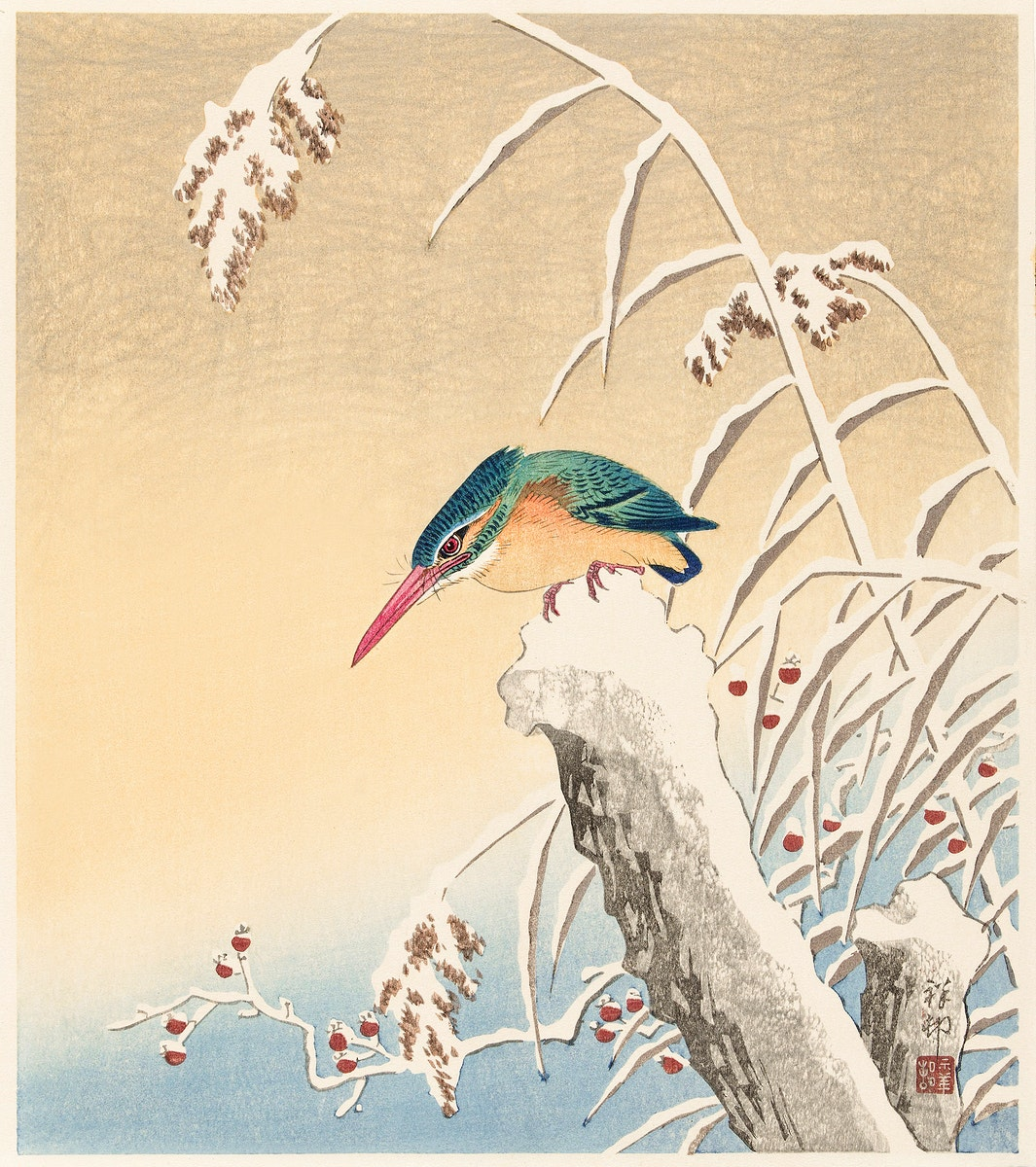 Kingfisher in the snow (1925 - 1936) by Ohara Koson (1877-1945). Original from The Rijksmuseum. Digitally enhanced by…