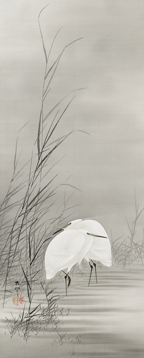 Egrets in a swamp (1877-1945) by Ohara Koson (1877-1945). Original from The Rijksmuseum. Digitally enhanced by rawpixel.