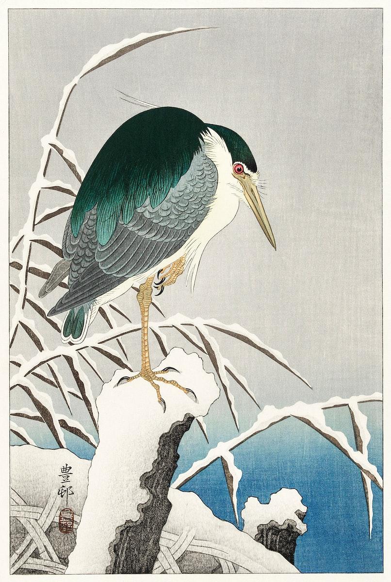 Heron in snow (1920 - 1930) by Ohara Koson (1877-1945). Original from The Rijksmuseum. Digitally enhanced by rawpixel.