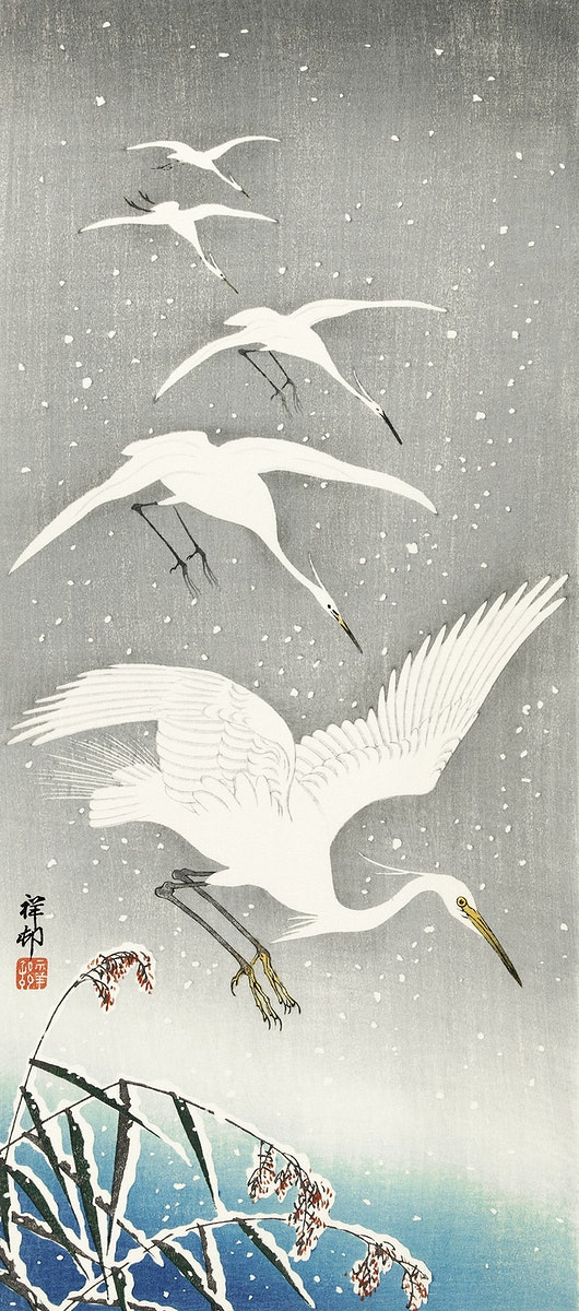 Descending egrets in snow (1925 - 1936) by Ohara Koson (1877-1945). Original from The Rijksmuseum. Digitally enhanced by…