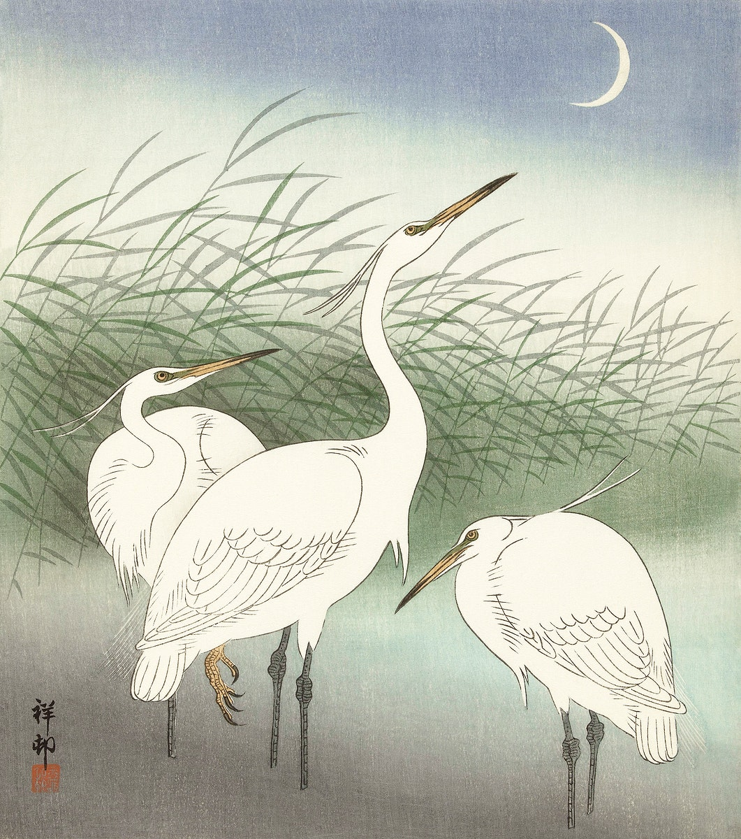Herons in shallow water (1934) by Ohara Koson (1877-1945). Original from The Rijksmuseum. Digitally enhanced by rawpixel.