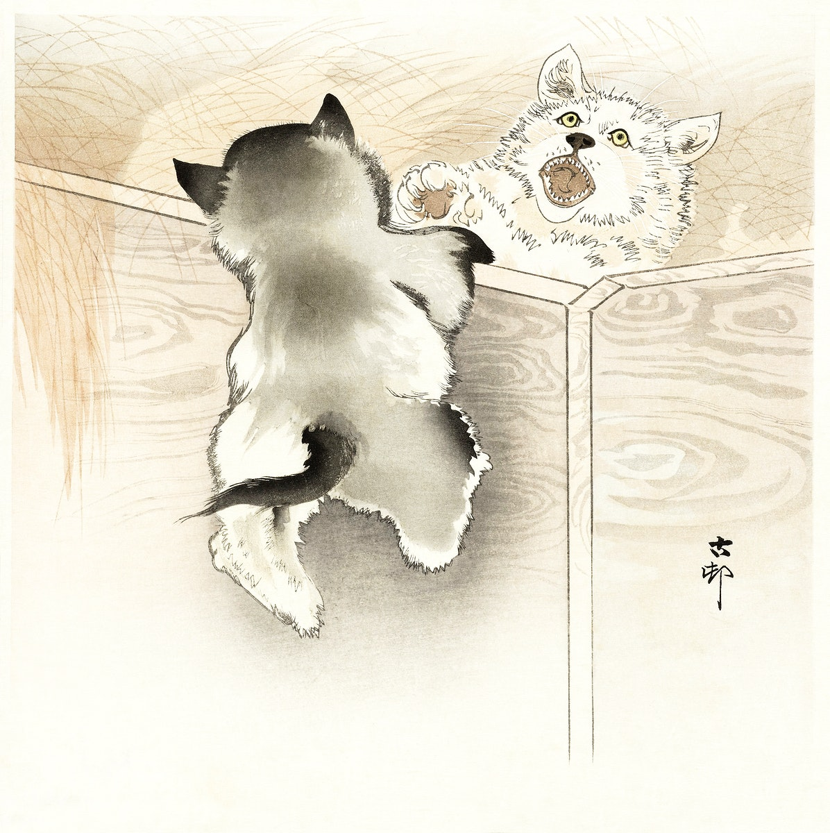 Two playing dogs (1900 - 1930) by Ohara Koson (1877-1945). Original from The Rijksmuseum. Digitally enhanced by rawpixel.