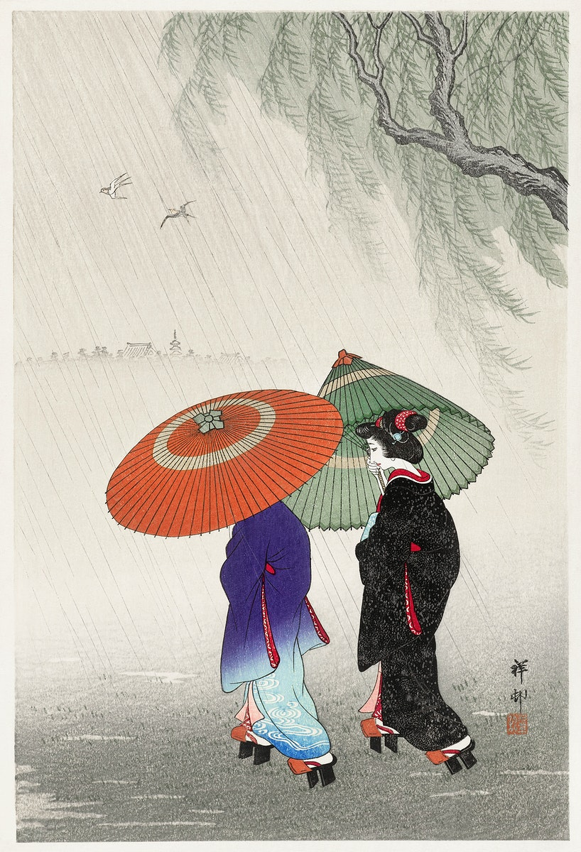 Two women in the rain (1925 - 1936) by Ohara Koson (1877-1945). Original from The Rijksmuseum. Digitally enhanced by…
