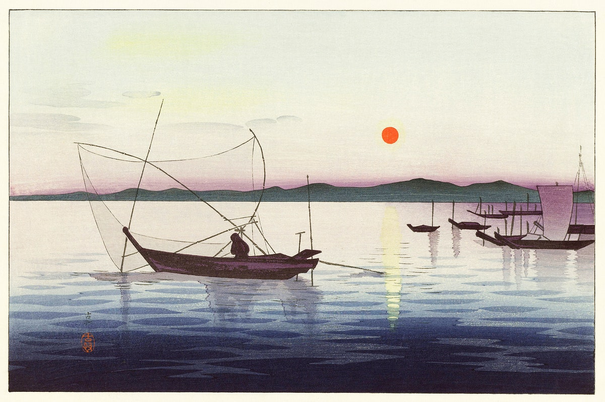 Boats and setting sun (1900 - 1936) by Ohara Koson (1877-1945). Original from The Rijksmuseum. Digitally enhanced by…