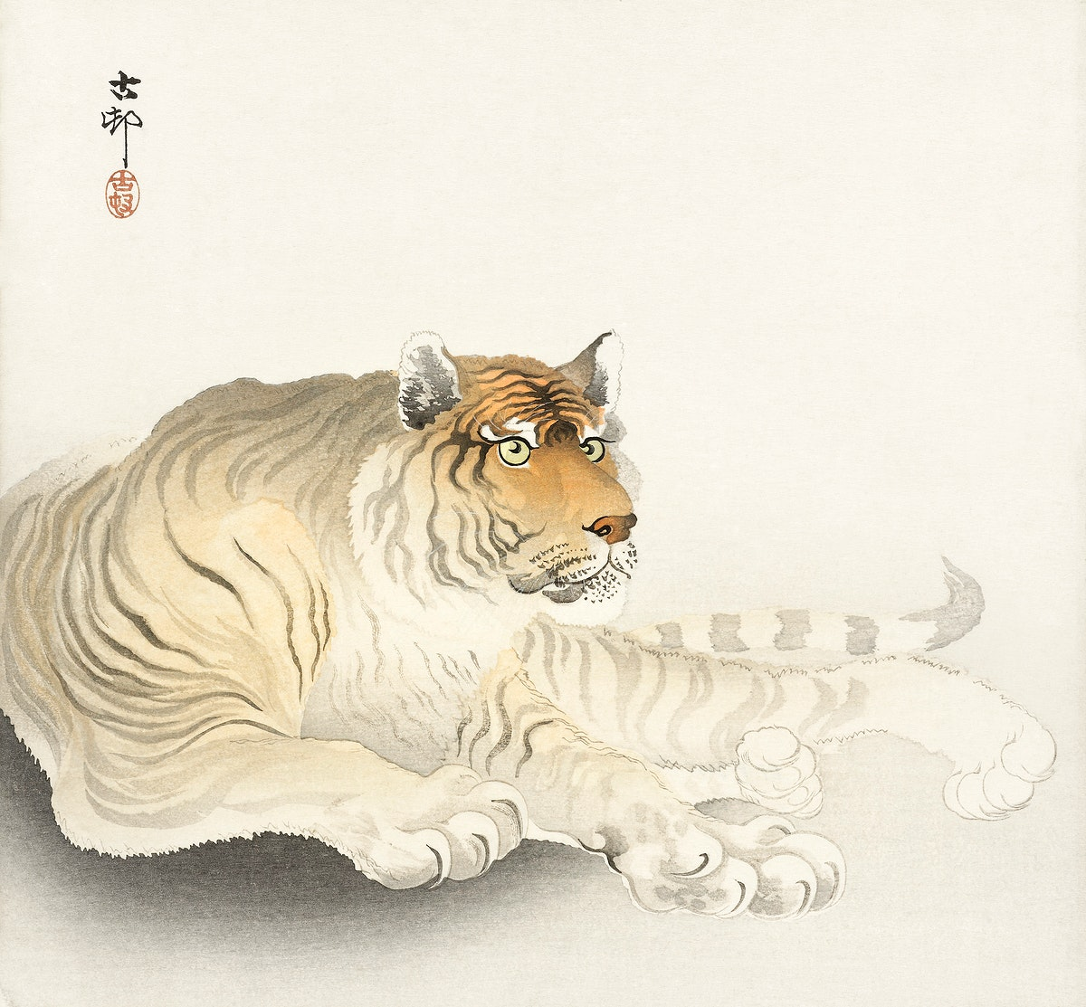 Tiger (1900 - 1930) by Ohara Koson (1877-1945). Original from The Rijksmuseum. Digitally enhanced by rawpixel.