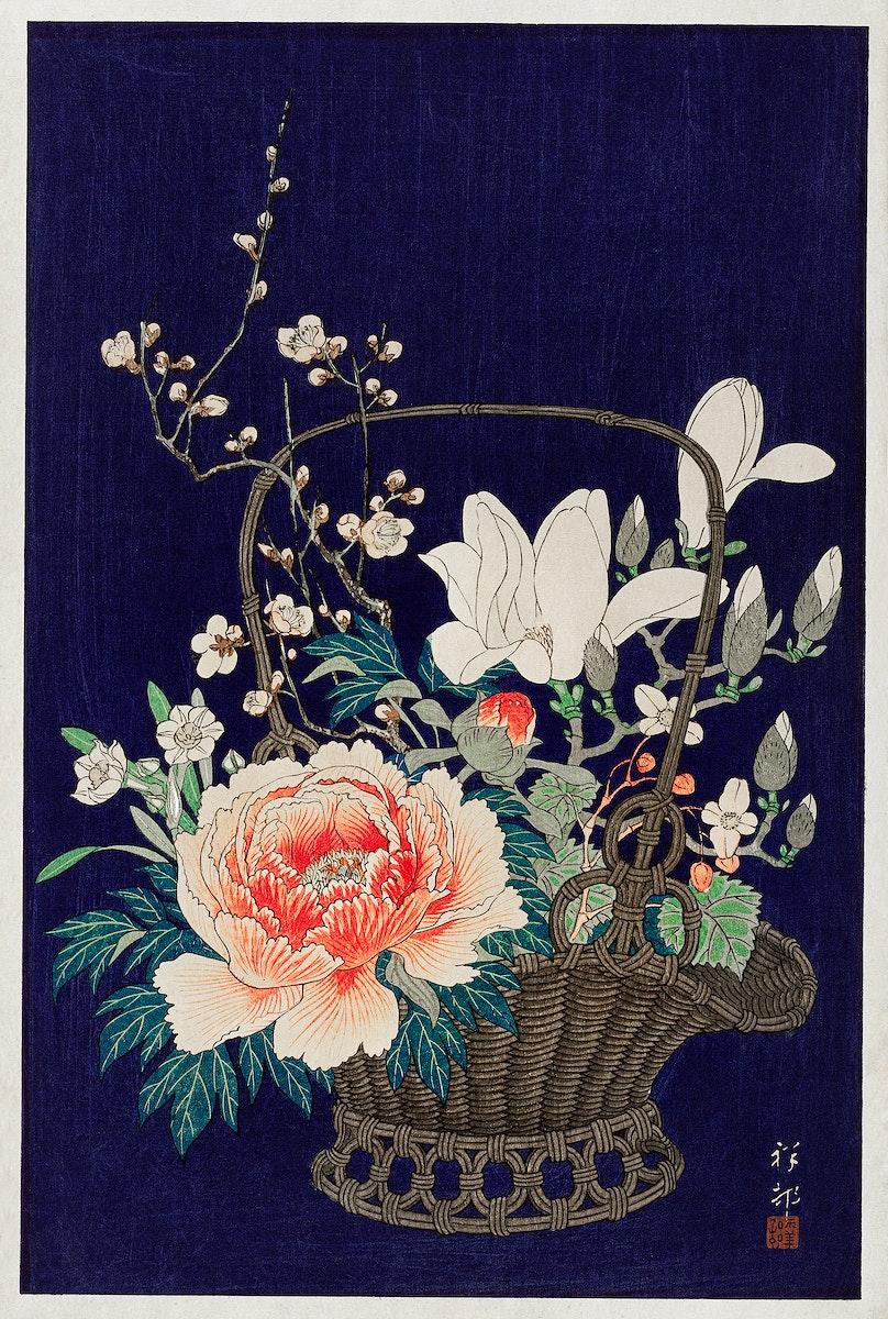Bamboo flower basket (1932) by Ohara Koson (1877-1945). Original from The Rijksmuseum. Digitally enhanced by rawpixel.