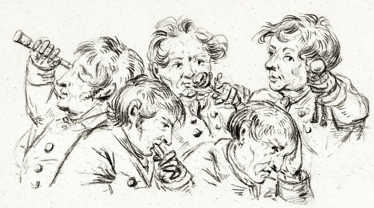 The five senses (1832) by Jean Bernard (1775-1883). Original from The Rijksmuseum. Digitally enhanced by rawpixel.