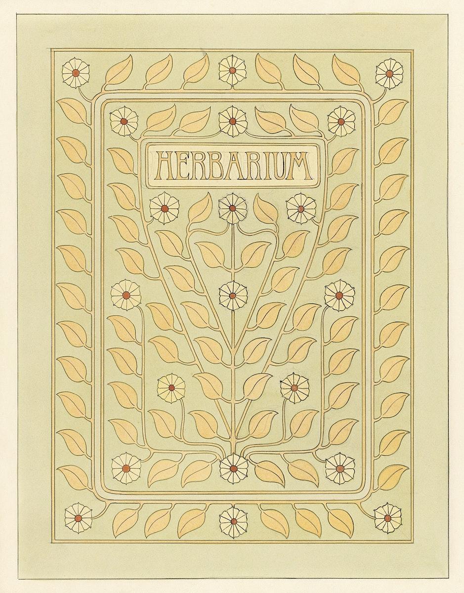 Design for Herbarium book cover by Julie de Graag (1877-1924). Original from The Rijksmuseum. Digitally enhanced by rawpixel.