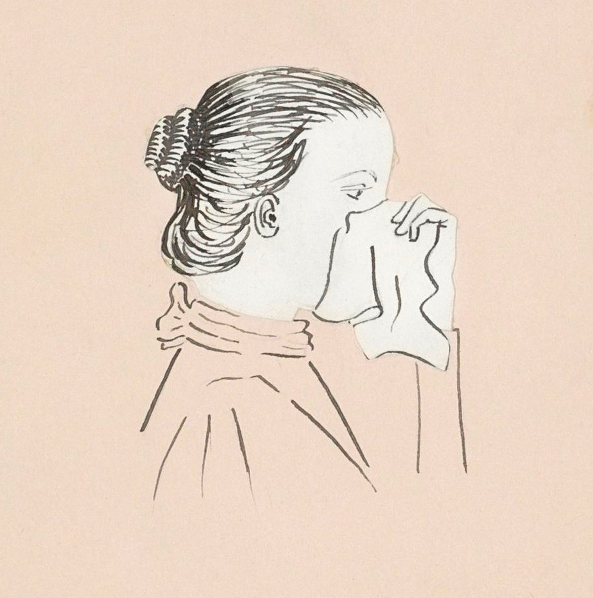 Head of a woman with a handkerchief against her nose (1894) by Julie de Graag (1877-1924). Original from The Rijksmuseum.…