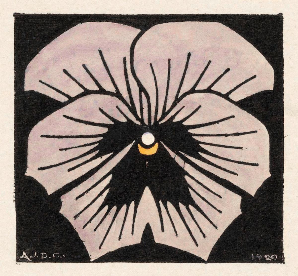 Woodcut flower (1920) by Julie de Graag (1877-1924). Original from The Rijksmuseum. Digitally enhanced by rawpixel.