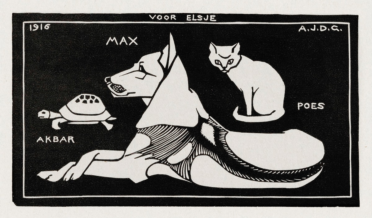 Akbar the tortoise, Max the dog and Puss the cat (1916 ) by Julie de Graag (1877-1924). Original from The Rijksmuseum.…