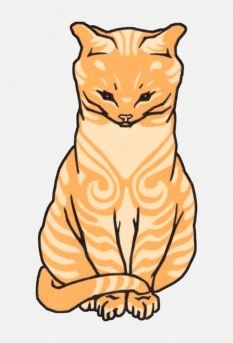 Vintage Illustration of Sitting Cat.
