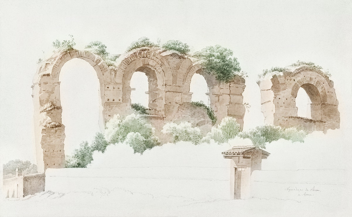 A Part of an Aqueduct in Rome (ca. 1809–1812) by Joseph August Knip. Original from The Rijksmuseum. Digitally enhanced…