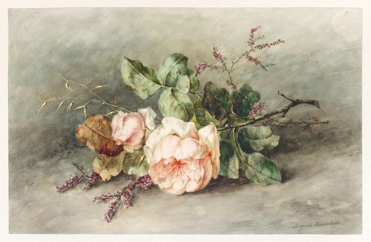 Rozen by Margaretha Roosenboom (1853 –1896). Original from The Rijksmuseum. Digitally enhanced by rawpixel.