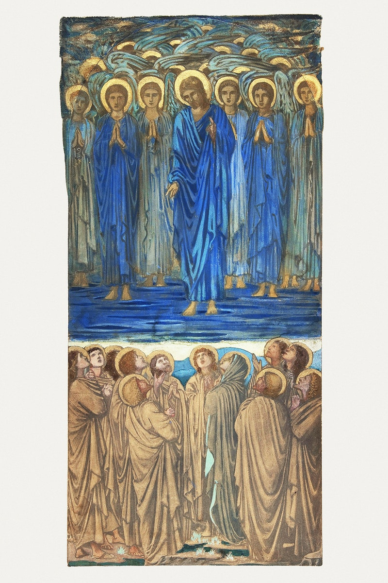 Ascension of Christ (Acts I, 1–9): Study for stained-glass window (ca. 1875–84) drawing in high resolution by Sir…
