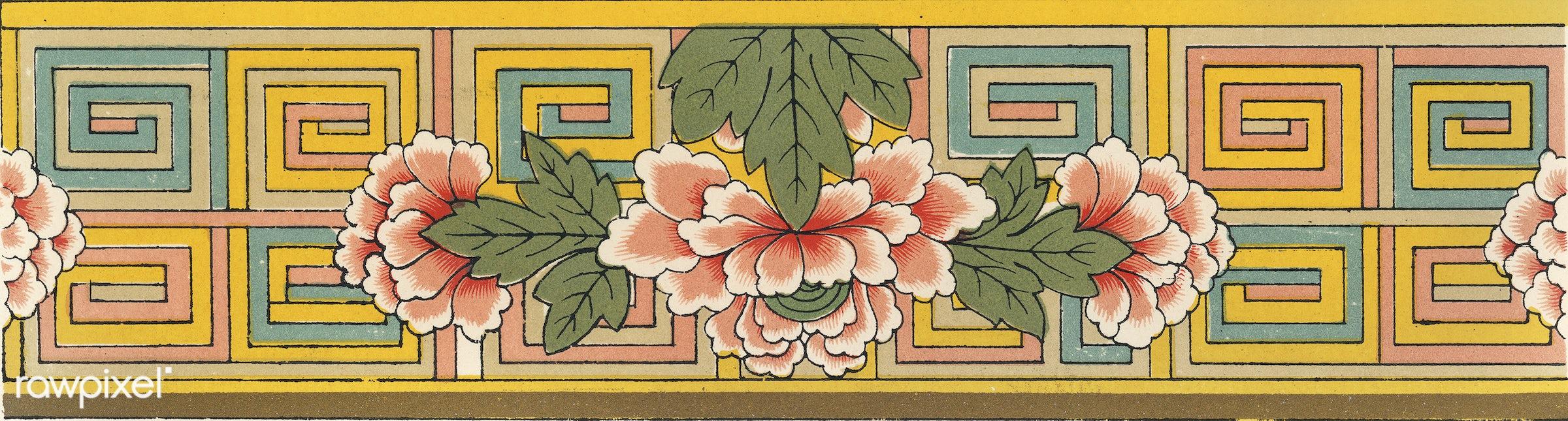 Antique illustration of the grammar of ornament by Owen Jones - abstract, antique, art, banner, decoration, decorative,...