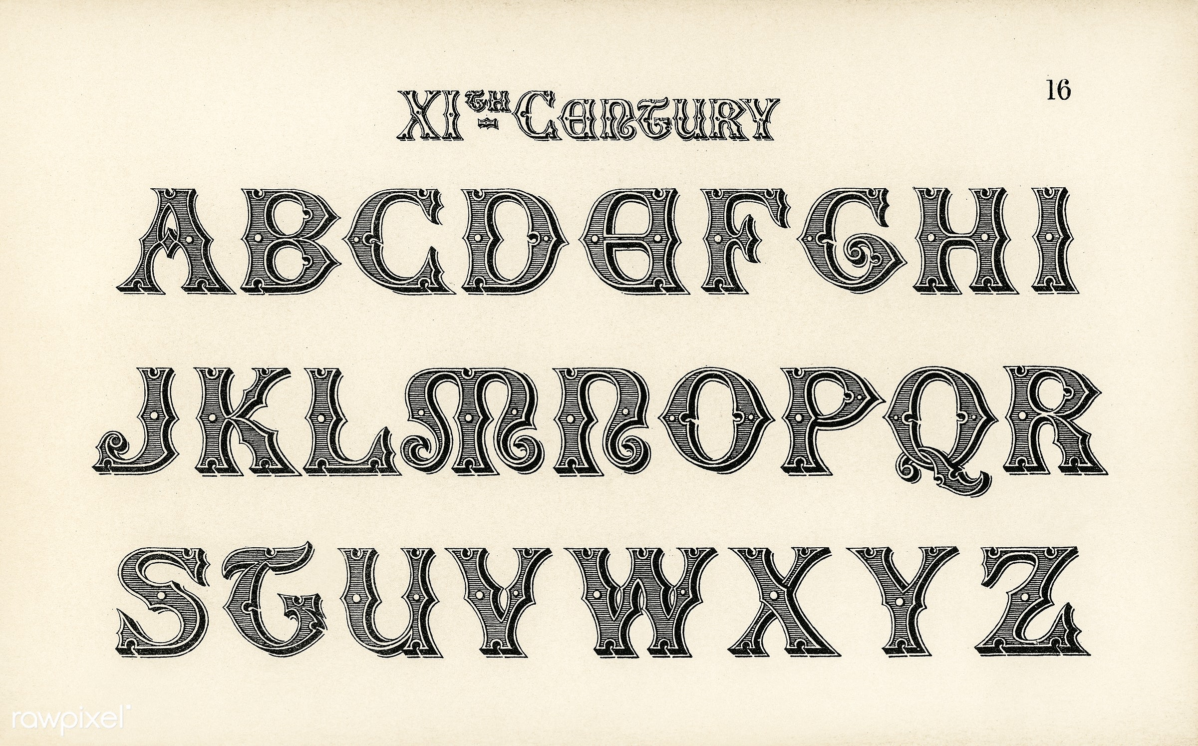 11th Century Calligraphy Fonts From Draughtsmans Alphabets By Hermann Esser 1845 1908