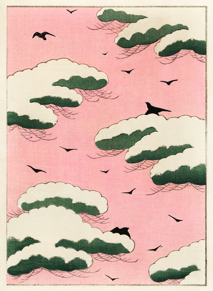 Pink sky illustration from Bijutsu Sekai (1893-1896) by Watanabe Seitei, a prominent Kacho-ga artist. Digitally enhanced from…