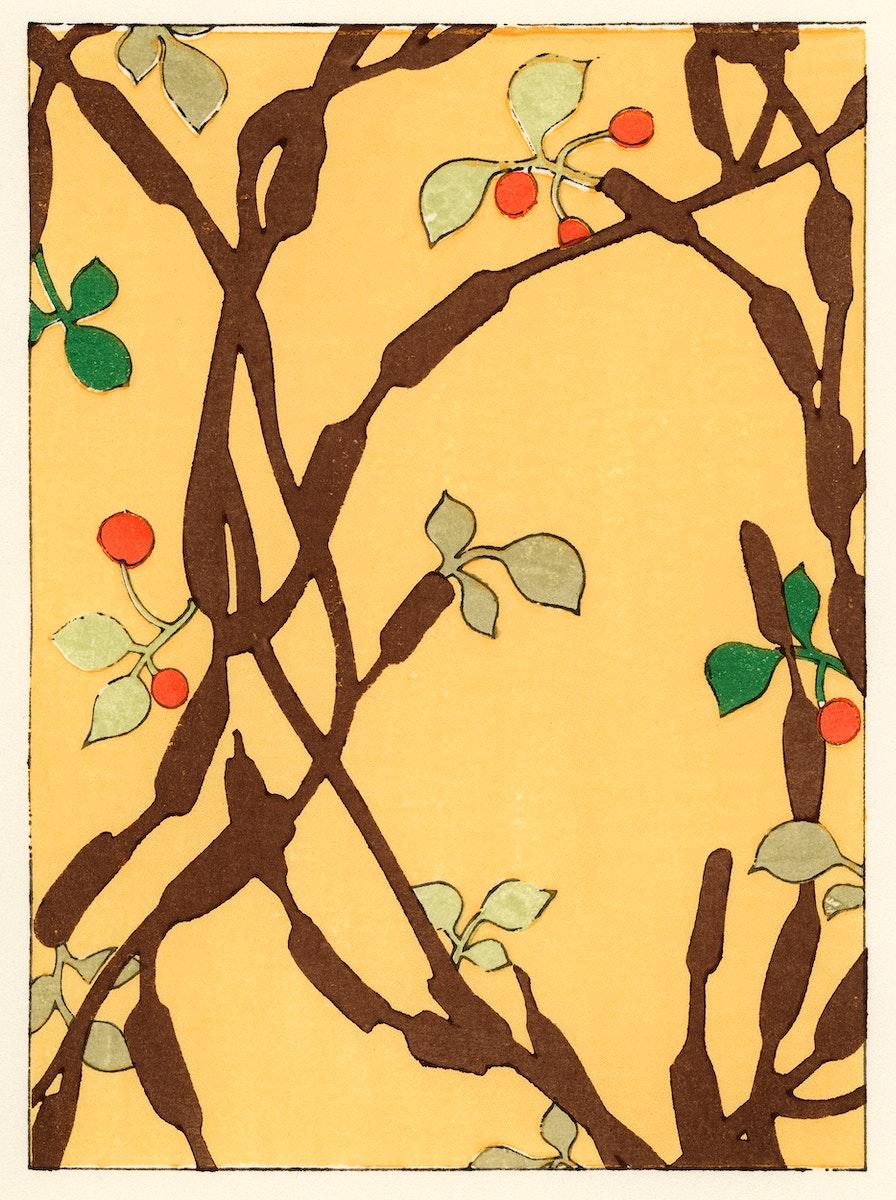 The ukiyo-e illustration from Bijyutsu Kai by Furuya Korin, from the 1900's, a decorative art of botanical pattern. Digitally…