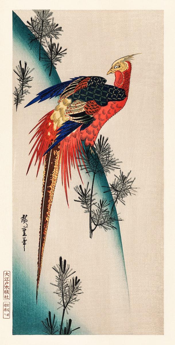 The ukiyo-e illustration, Pheasant & Small Pine by Utagawa Hiroshige also known as Ando Hiroshige (1797-1858), a portrait of…