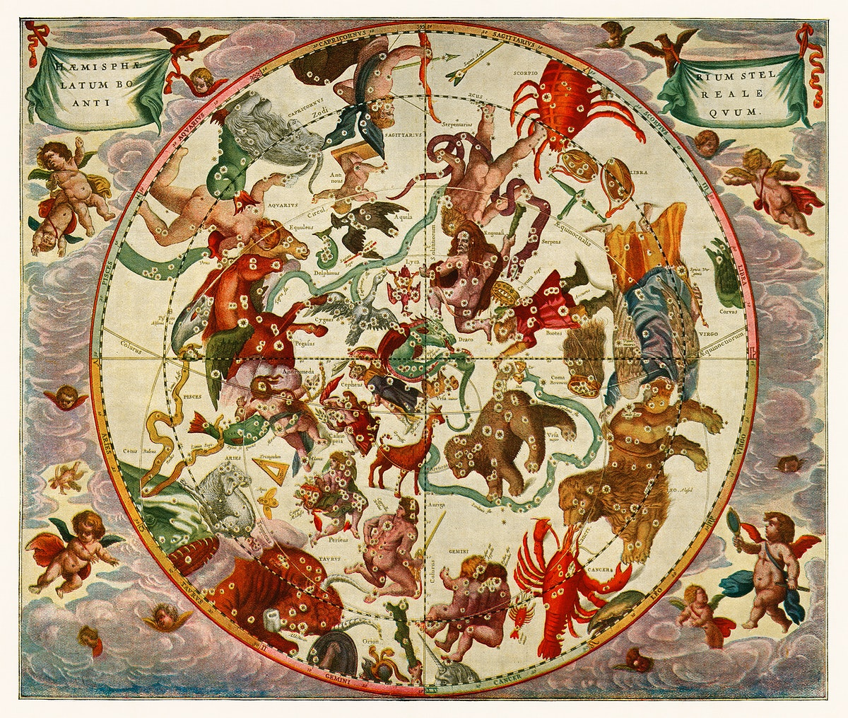 The northern stellar hemisphere of antiquity from The Harmonia Macrocosmica of Andreas Cellarius (1660). Digitally enhanced…