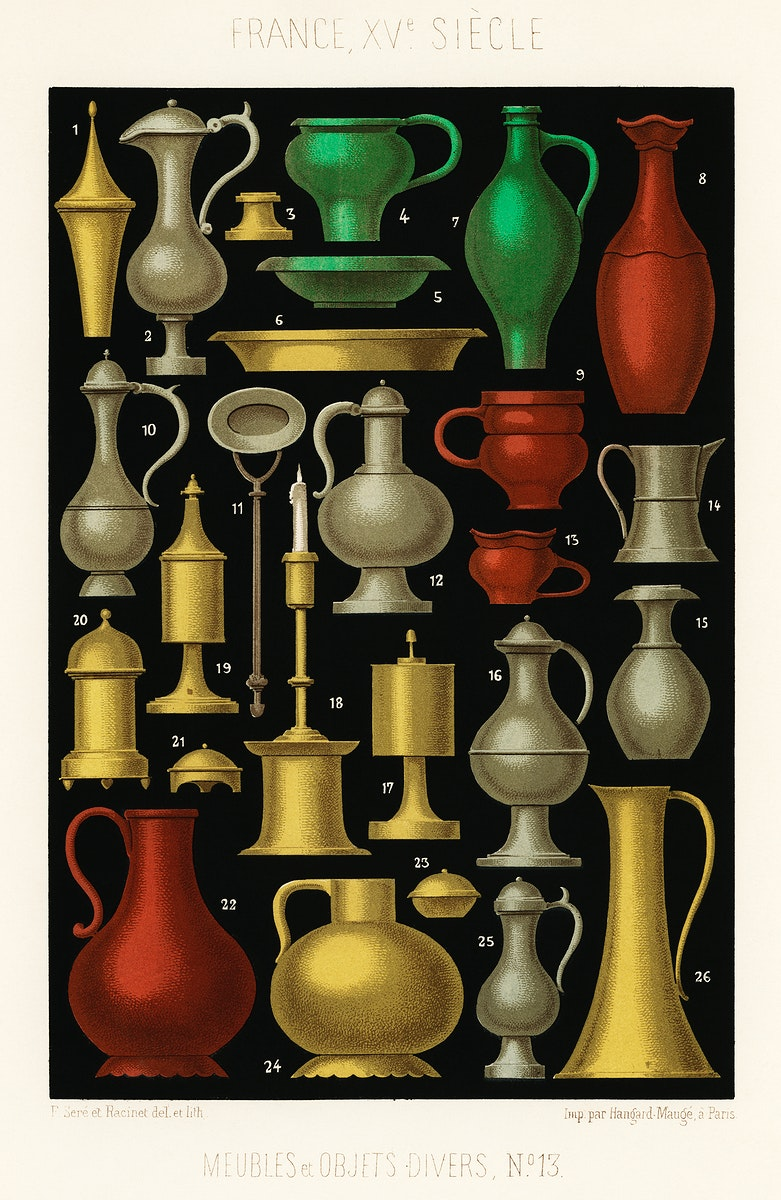 Miscellaneous Furniture and Objects (1858) by Ferdinand Sere, a collection of simple utensils and objects of the 15th…
