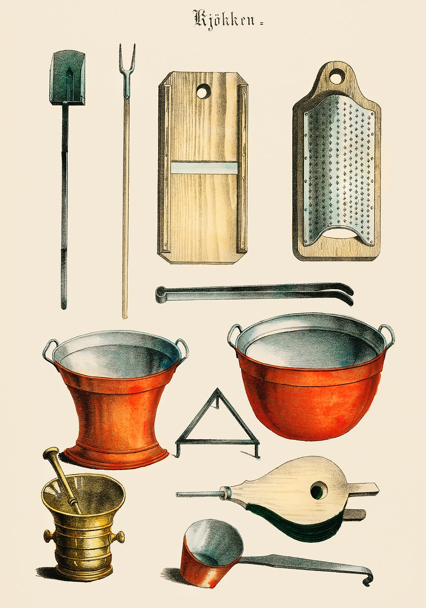 Kjokken (1850) published in Copenhagen, a vintage collection of kitchenware. Digitally enhanced from our own antique…