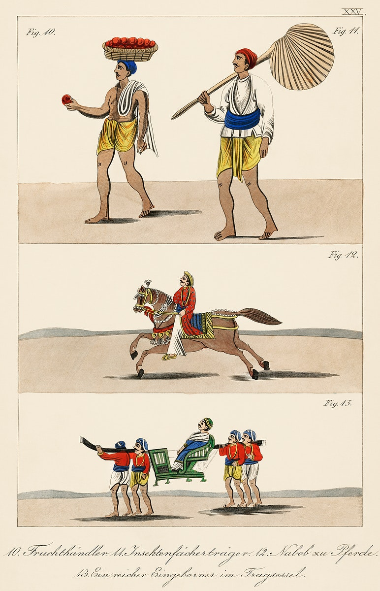 Fruit seller,  wealthy man on horseback, and a rich indigenous man riding a carrier chair from Axel Lind von Hageby (1857…