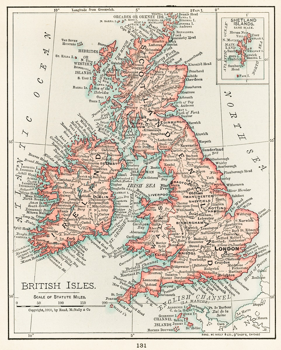 Universal Atlas of the World, A cartographic map of the British Isles. published in 1900. Digitally enhanced from our own…