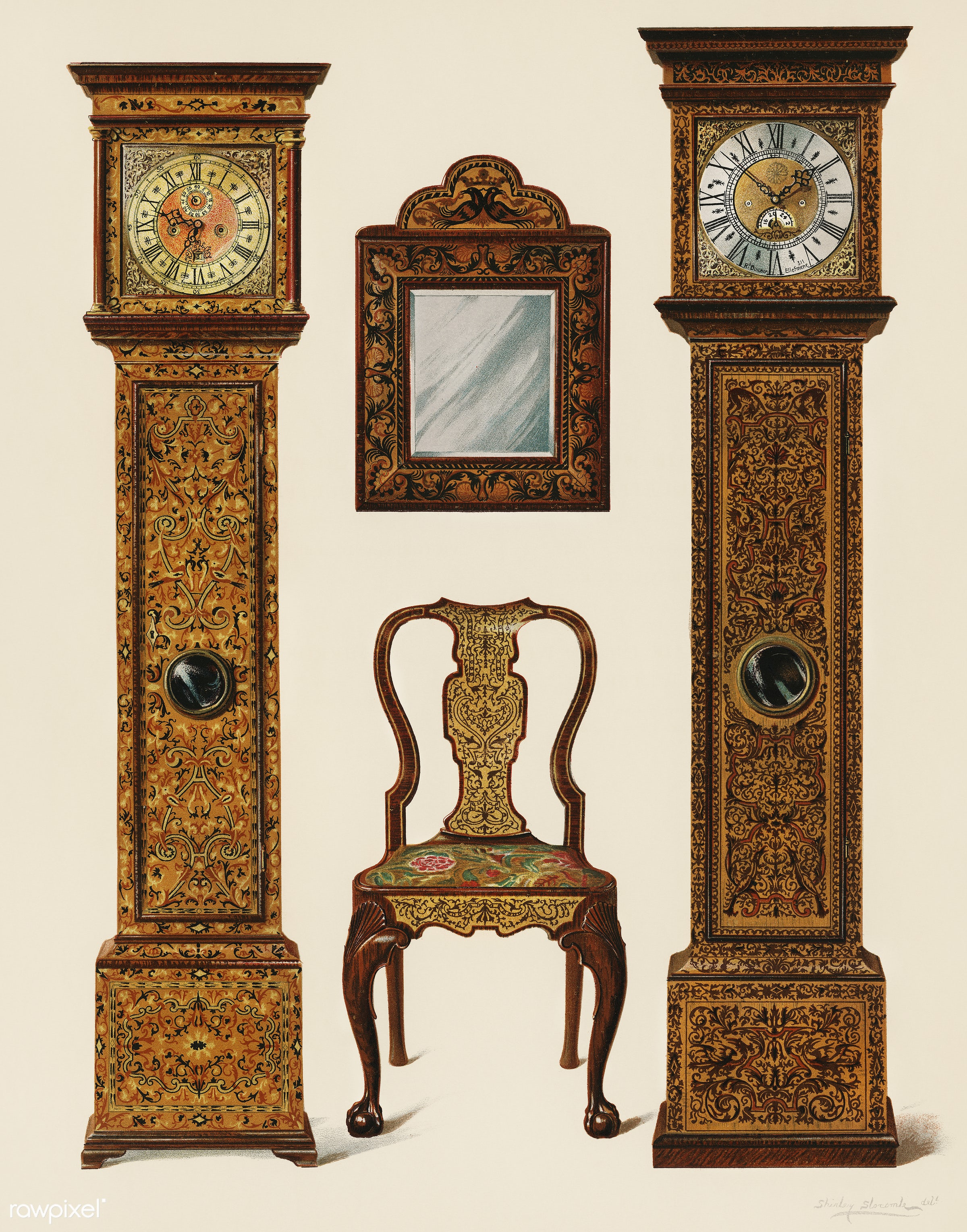 An illustration of Edwardian furniture (1905) drawn by Shirley Slocombe, a beautifully detailed design of a wooden chair,...