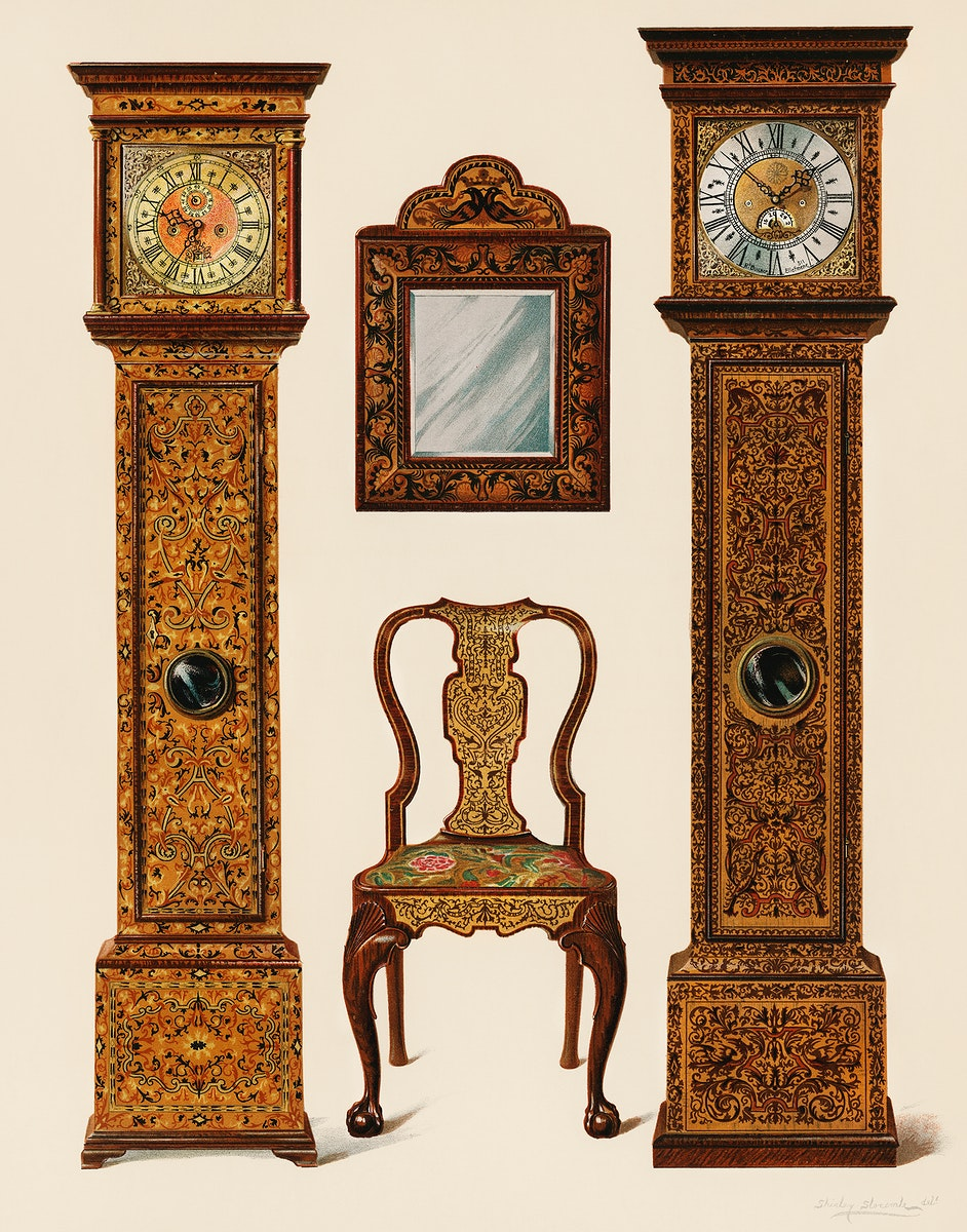 An illustration of Edwardian furniture (1905) drawn by Shirley Slocombe, a beautifully detailed design of a wooden chair…