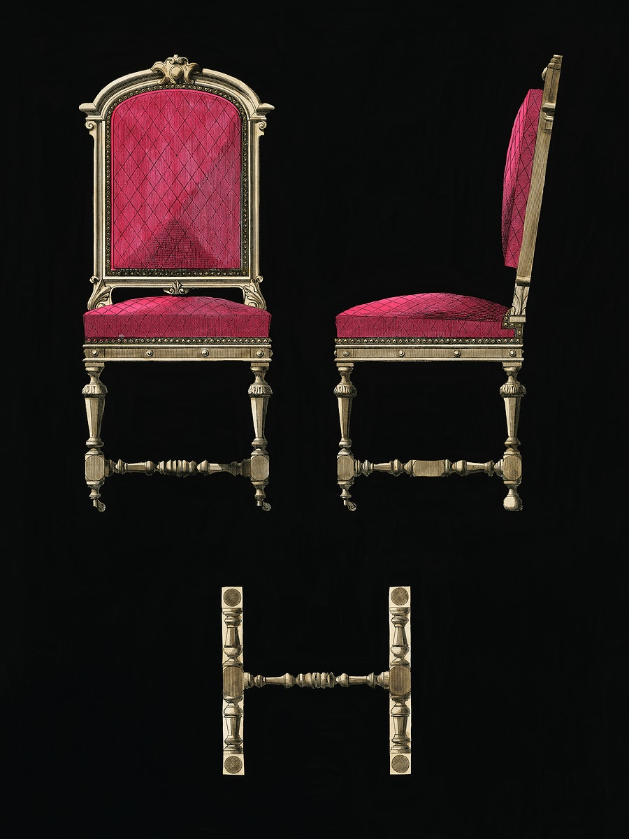 Design of an antique burgundy chair. Digitally enhanced from our own original plate.