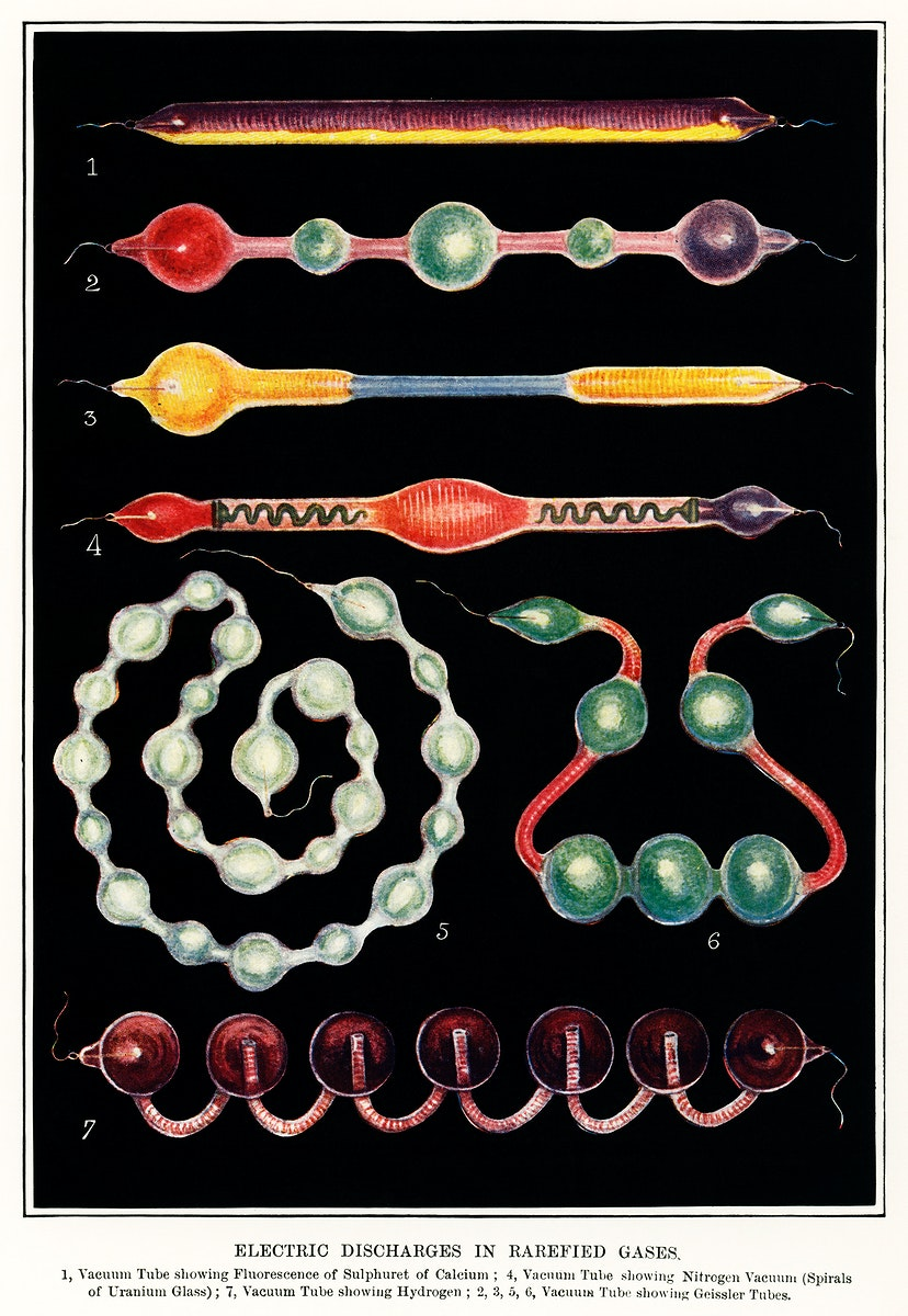 Electric Discharges in Rarefied Gases (1880), a collection of colorful and different drawings of rarefied gases. Digitally…