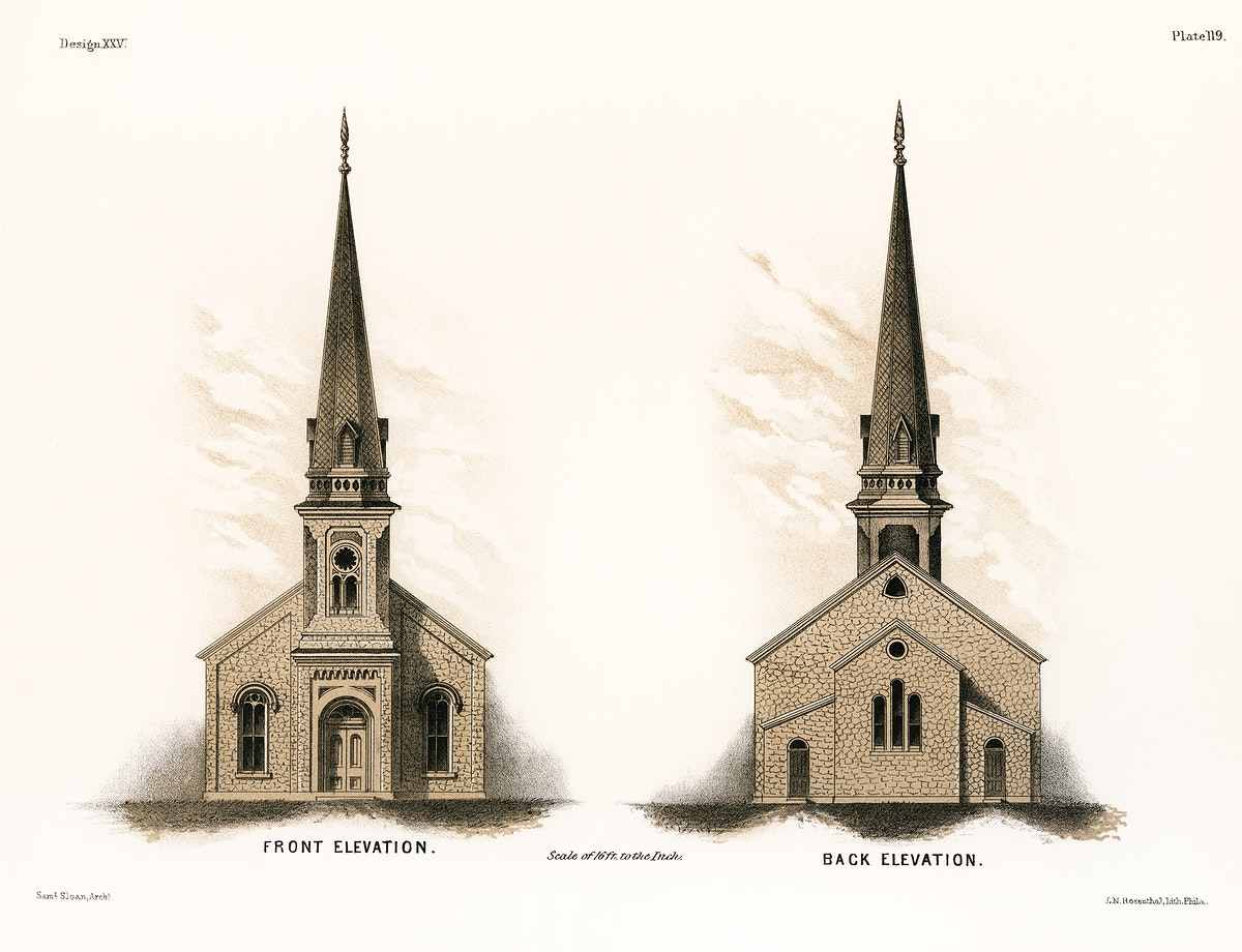 Illustration of a frontside and a backside of an American church by Samuel Sloan (1815–1884), a vintage drawing of a…