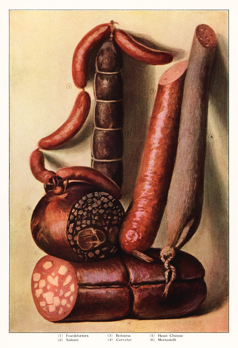 The Grocer's Encyclopedia (1911), an illustrated assortment of various types of appetizing sausages. Digitally enhanced from…