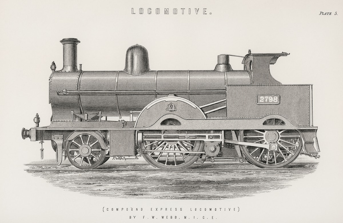 Locomotive (1891) by Francis William Webb (1836–1906), a beautifully detailed design of an engine train and its…