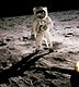 Edwin Aldrin walking on the lunar surface. Neil Armstrong, who took the photograph, can be seen reflected in Aldrin's helmet visor. Original from NASA. Digitally enhanced by rawpixel.