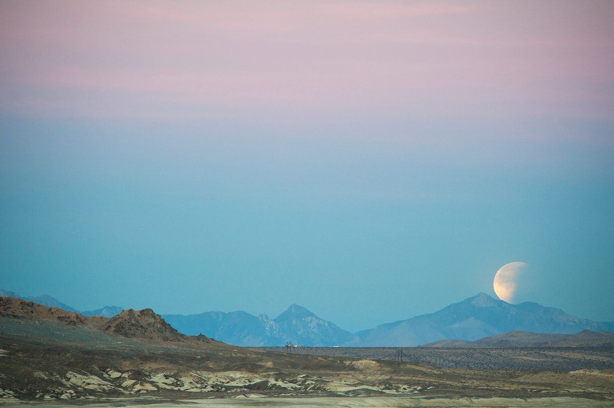 The Super Blue Blood Moon eclipse from California's Trona Pinnacles Desert National Conservation. Original from NASA.…