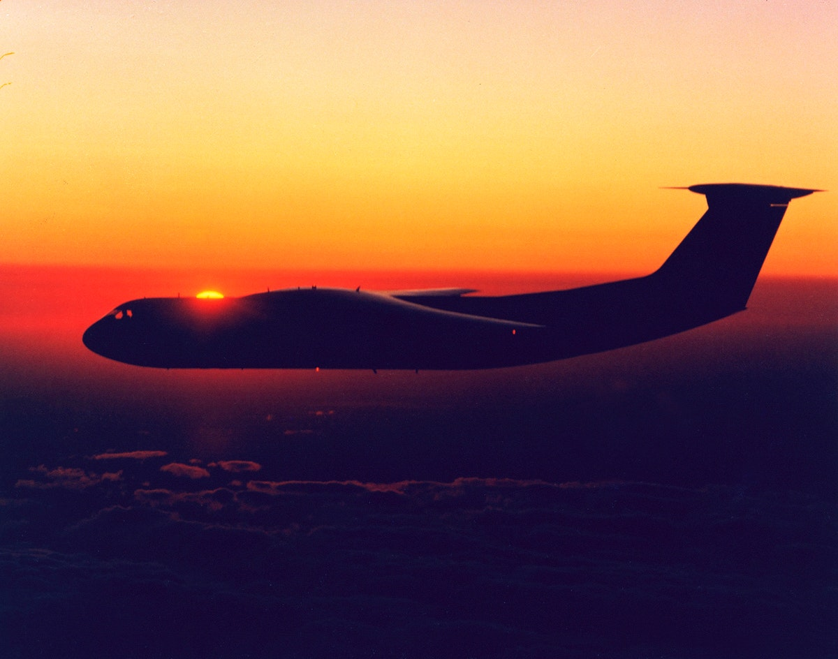 C-141 KAO returning home to Ames at sunrise. Original from NASA. Digitally enhanced by rawpixel.