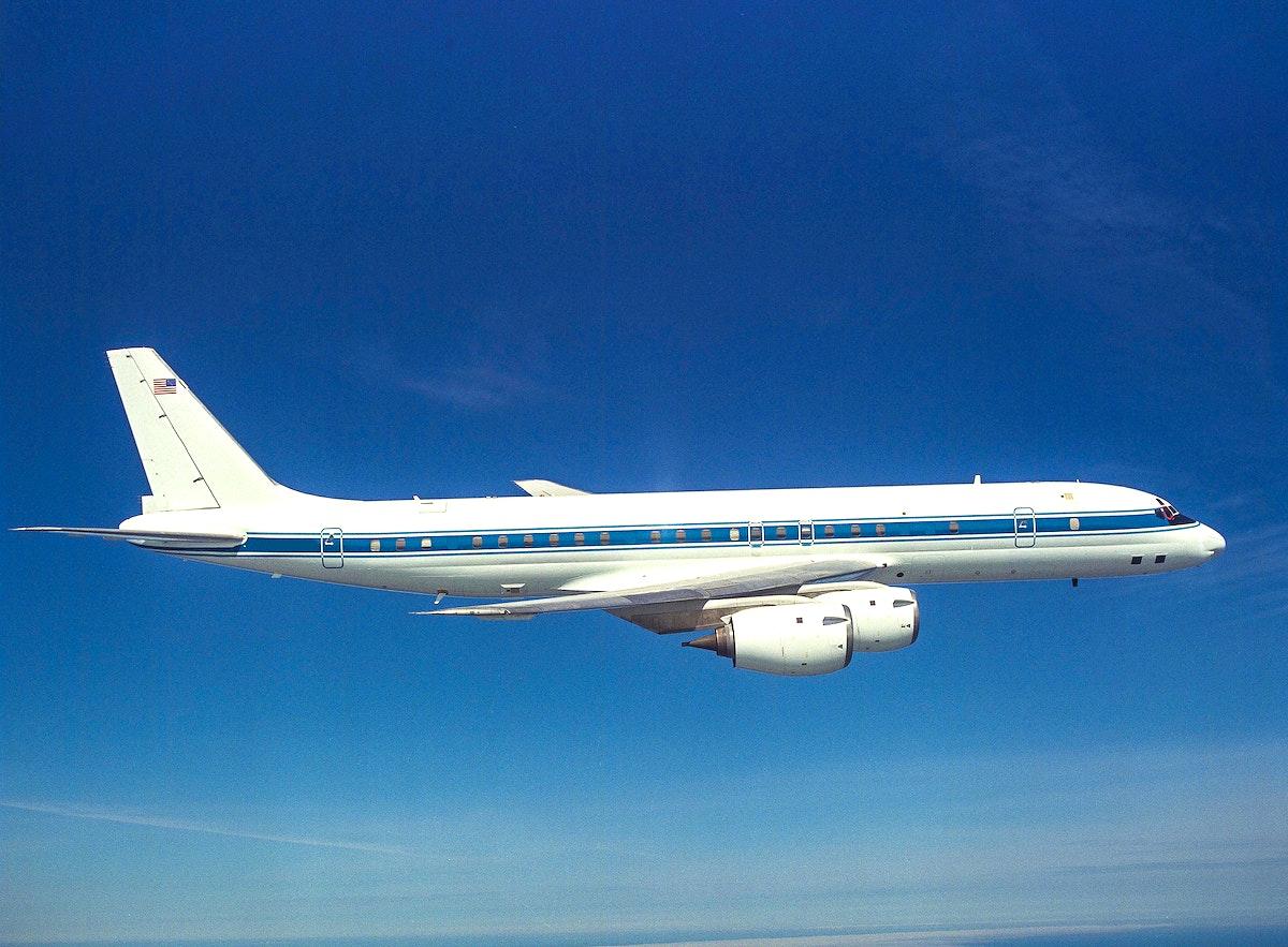 DC-8 NASA 717 in flight over San Francisco, Ca., 1991-05-29. Original from NASA. Digitally enhanced by rawpixel.